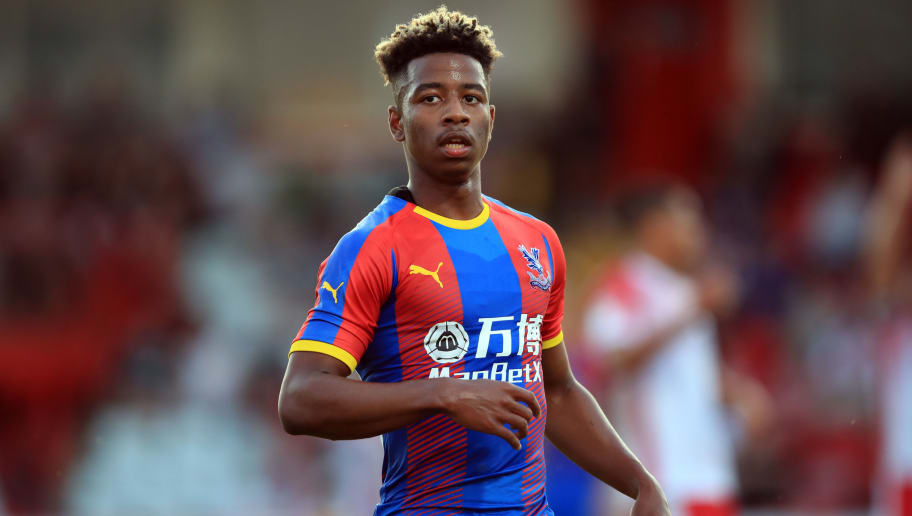 STEVENAGE, ENGLAND - JULY 24: Jason Lokilo of Crystal Palace during the Pre-Season Friendly between Stevenage and Crystal Palace at The Lamex Stadium on July 24, 2018 in Stevenage, England. (Photo by Marc Atkins/Getty Images)