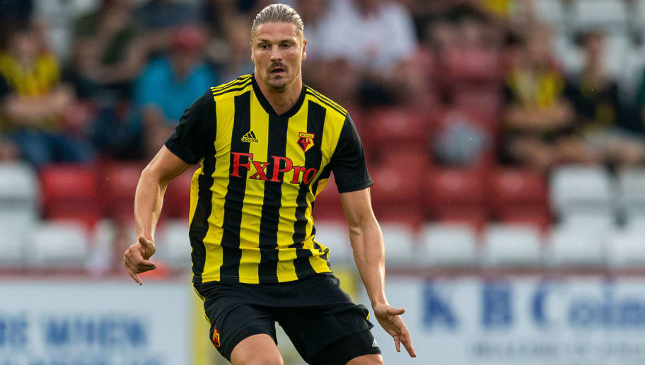 STEVENAGE, ENGLAND - JULY 27: Sebastian Prodl of Watford FC drives the ball during the pre-season friendly match between Stevenage and Watford at The Lamex Stadium on July 27, 2018 in Stevenage, England. (Photo by Paul Harding/Getty Images)