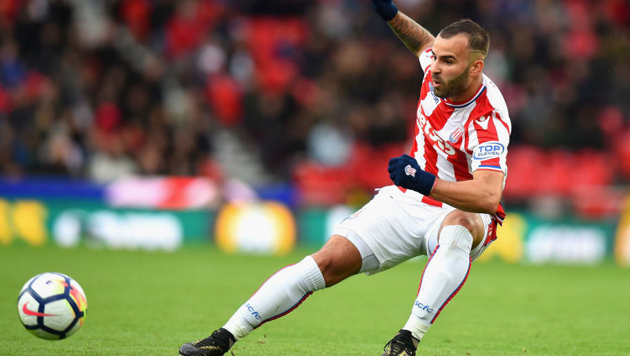 STOKE ON TRENT, ENGLAND - OCTOBER 21:  Jese of Stoke City during the Premier League match between Stoke City and AFC Bournemouth at Bet365 Stadium on October 21, 2017 in Stoke on Trent, England.  (Photo by Tony Marshall/Getty Images)