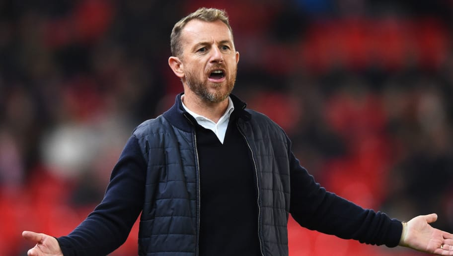 STOKE ON TRENT, ENGLAND - OCTOBER 02: Gary Rowett manager of Stoke City reacts during the Sky Bet Championship match between Stoke City and Bolton Wanderers at Bet365 Stadium on October 2, 2018 in Stoke on Trent, England. (Photo by Nathan Stirk/Getty Images)