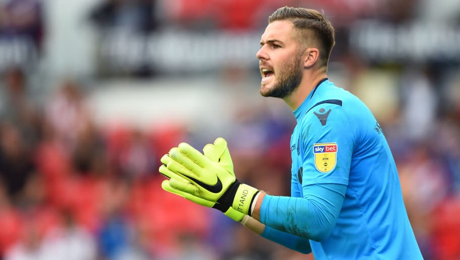 STOKE ON TRENT, ENGLAND - AUGUST 11: Jack Butland of Stoke City during the Sky Bet Championship match between Stoke City and Brentford at Bet365 Stadium on August 11, 2018 in Stoke on Trent, England. (Photo by Nathan Stirk/Getty Images)