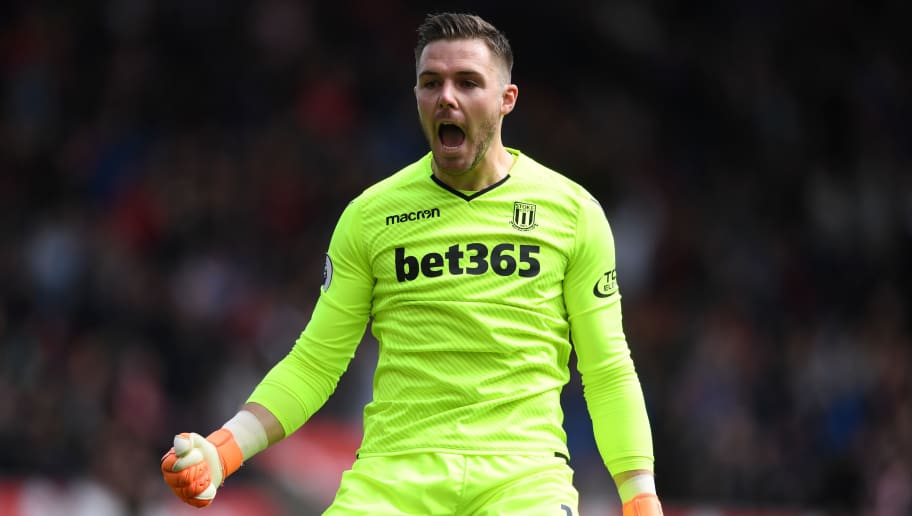 STOKE ON TRENT, ENGLAND - APRIL 22:  Jack Butland of Stoke City celebrates his sides first goal during the Premier League match between Stoke City and Burnley at Bet365 Stadium on April 22, 2018 in Stoke on Trent, England.  (Photo by Gareth Copley/Getty Images)