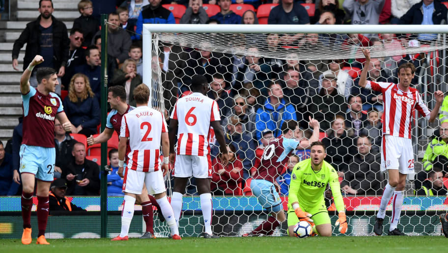 STOKE ON TRENT, ENGLAND - APRIL 22:  Jack Butland of Stoke City looks dejected following Burnley's first goal during the Premier League match between Stoke City and Burnley at Bet365 Stadium on April 22, 2018 in Stoke on Trent, England.  (Photo by Gareth Copley/Getty Images)