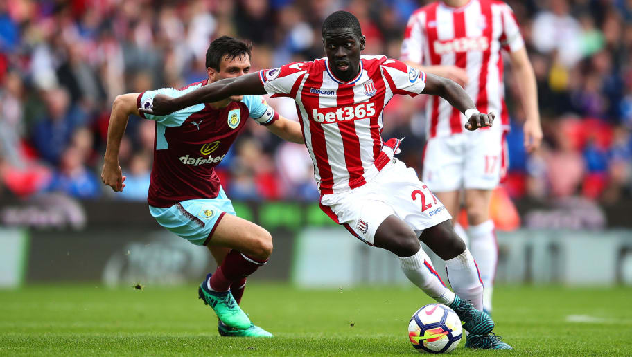 STOKE ON TRENT, ENGLAND - APRIL 22: Badou Ndiaye of Stoke City in action during the Premier League match between Stoke City and Burnley at Bet365 Stadium on April 22, 2018 in Stoke on Trent, England. (Photo by Chris Brunskill Ltd/Getty Images)