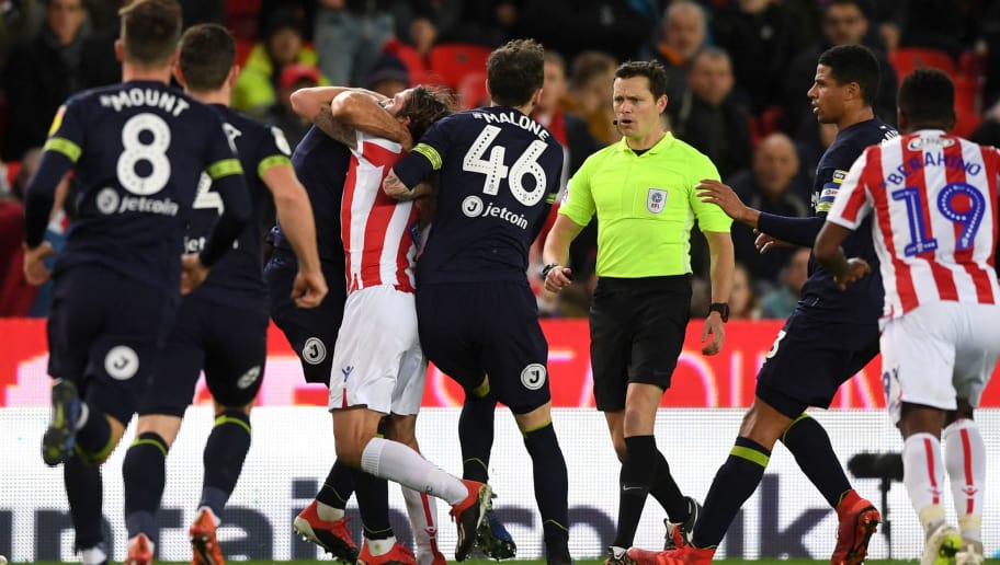 Bradley Johnson of Derby County clashes with Joe Allen of Stoke City during the Sky Bet Championship match between Stoke City and Derby County at Bet365 Stadium on November 28, 2018 in Stoke on Trent, England. (Photo by Gareth Copley/Getty Images)