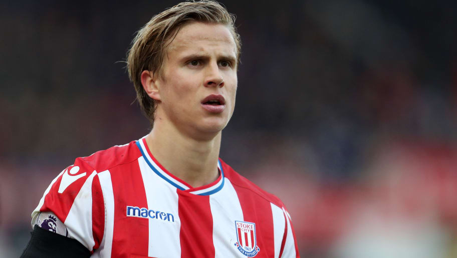 STOKE ON TRENT, ENGLAND - JANUARY 20: Moritz Bauer of Stoke City during the Premier League match between Stoke City and Huddersfield Town at Bet365 Stadium on January 20, 2018 in Stoke on Trent, England. (Photo by James Baylis - AMA/Getty Images)