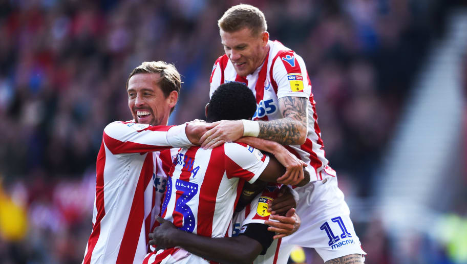 STOKE ON TRENT, ENGLAND - AUGUST 25: Stoke players celebrate as they score the second goal of the game during the Sky Bet Championship match between Stoke City and Hull City at Bet365 Stadium on August 25, 2018 in Stoke on Trent, England. (Photo by Nathan Stirk/Getty Images)