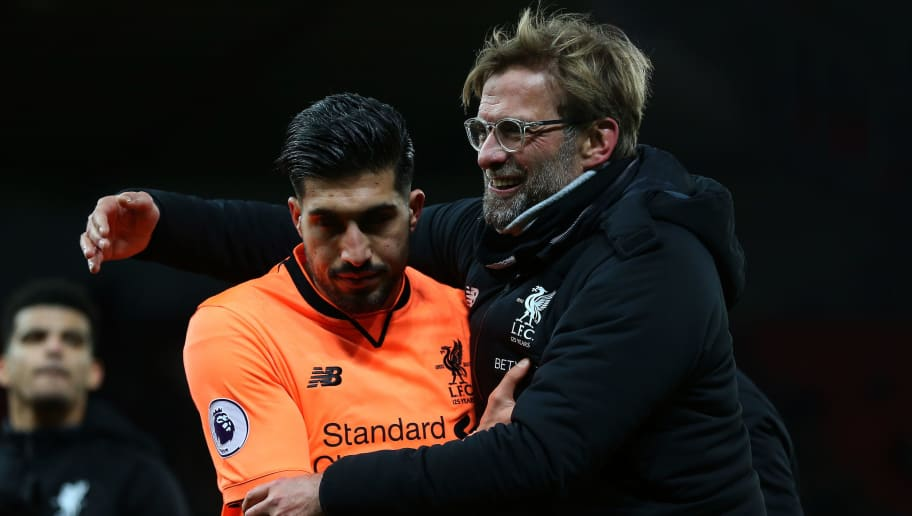 STOKE ON TRENT, ENGLAND - NOVEMBER 29: Jurgen Klopp the head coach / manager of Liverpool embraces Emre Can of Liverpool at full time after the Premier League match between Stoke City and Liverpool at Bet365 Stadium on November 29, 2017 in Stoke on Trent, England. (Photo by James Baylis - AMA/Getty Images)
