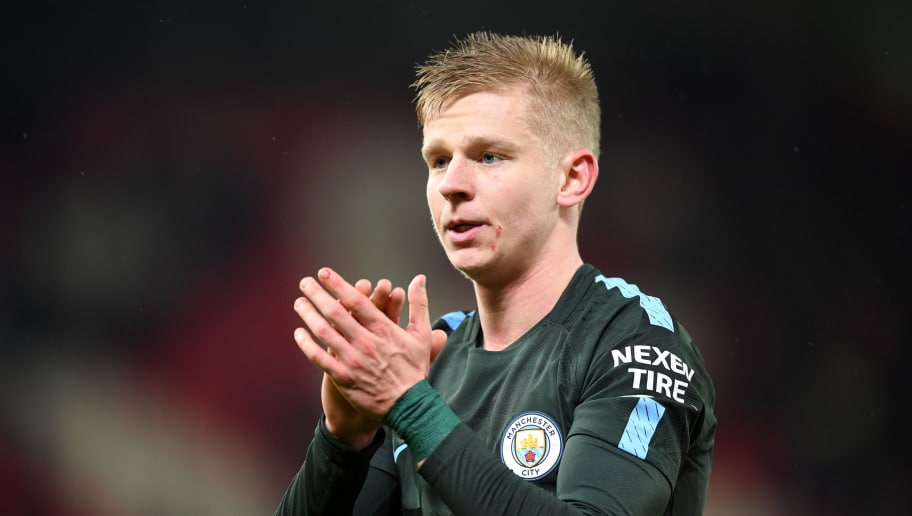 STOKE ON TRENT, ENGLAND - MARCH 12:  Alexander Zinchenko of Manchester City salutes the travelling fans after the Premier League match between Stoke City and Manchester City at Bet365 Stadium on March 12, 2018 in Stoke on Trent, England.  (Photo by Michael Regan/Getty Images)
