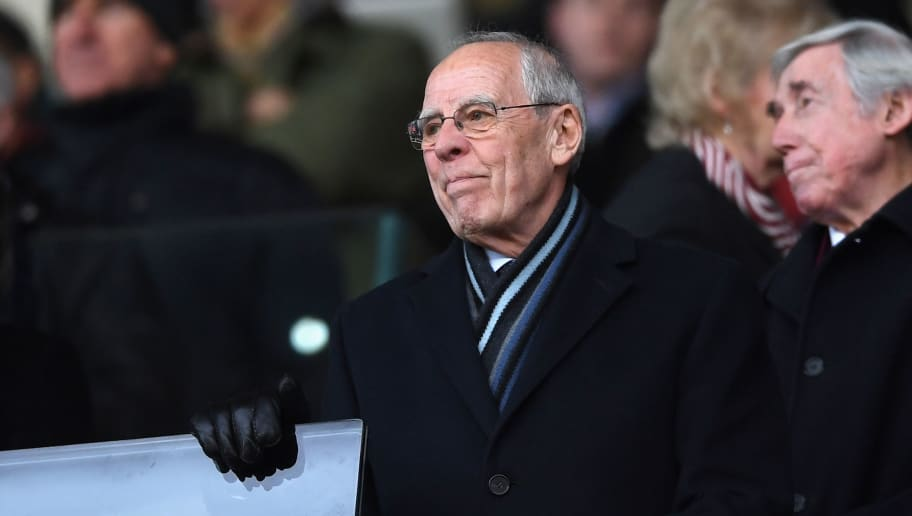 STOKE ON TRENT, ENGLAND - JANUARY 01:  Peter Coates, owner of Stoke City FC looks on from the stands during the Premier League match between Stoke City and Newcastle United at Bet365 Stadium on January 1, 2018 in Stoke on Trent, England.  (Photo by Gareth Copley/Getty Images)