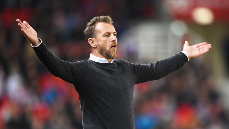 STOKE ON TRENT, ENGLAND - SEPTEMBER 18: Gary Rowett manager of Stoke City reacts during the Sky Bet Championship match between Stoke City and Swansea at Bet365 Stadium on September 18, 2018 in Stoke on Trent, England. (Photo by Nathan Stirk/Getty Images)