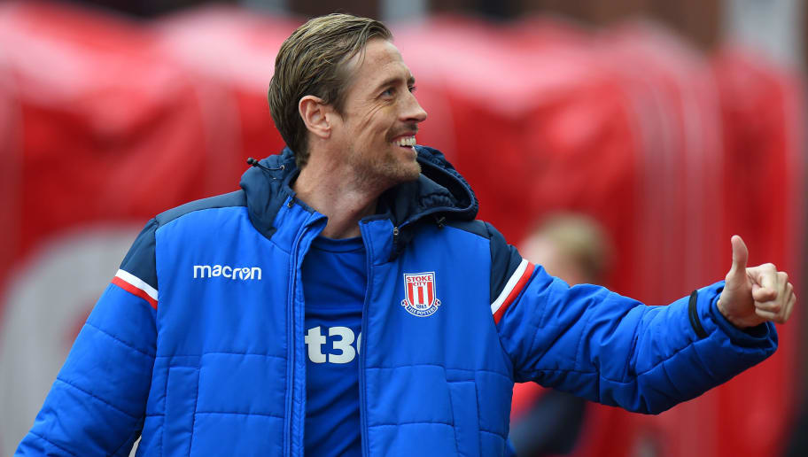 STOKE ON TRENT, ENGLAND - APRIL 07: Peter Crouch of Stoke City during the Premier League match between Stoke City and Tottenham Hotspur at Bet365 Stadium on April 7, 2018 in Stoke on Trent, England.  (Photo by Tony Marshall/Getty Images)