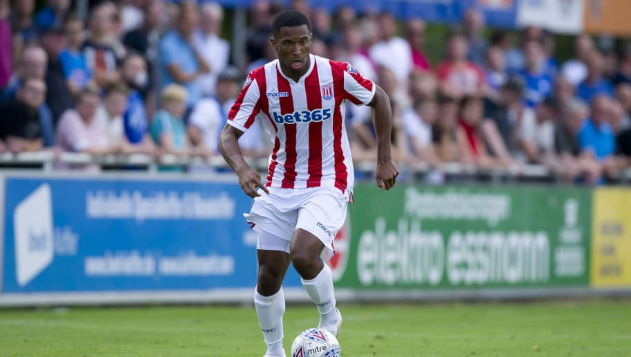 RHEINE, GERMANY - JULY 18: Tyrese Campbell of Stoke City controls the ball during the Friendly match between Stoke City and VfL Bochum on July 18, 2018 in Rheine, Germany. (Photo by TF-Images/Getty Images)