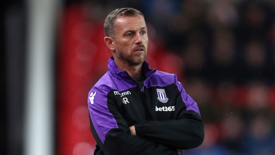 STOKE ON TRENT, ENGLAND - AUGUST 22: A dejected Gary Rowett the head coach / manager of Stoke City  during the Sky Bet Championship match between Stoke City and Wigan Athletic at Bet365 Stadium on August 22, 2018 in Stoke on Trent, England. (Photo by James Baylis - AMA/Getty Images)