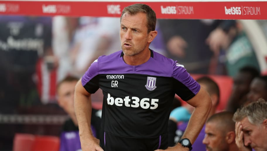 STOKE ON TRENT, ENGLAND - JULY 25:  Gary Rowett, the Stoke City manager, looks on during the pre-season friendly match between Stoke City and Wolverhampton Wanderers at the Bet365 Stadium on July 25, 2018 in Stoke on Trent, England.  (Photo by David Rogers/Getty Images)