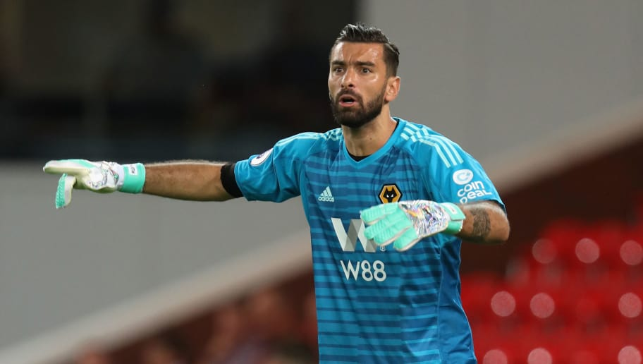 STOKE ON TRENT, ENGLAND - JULY 25:  Rui Patricio of Wolverhampton Wanderers shouts instructions during the pre-season friendly match between Stoke City and Wolverhampton Wanderers at the Bet365 Stadium on July 25, 2018 in Stoke on Trent, England.  (Photo by David Rogers/Getty Images)