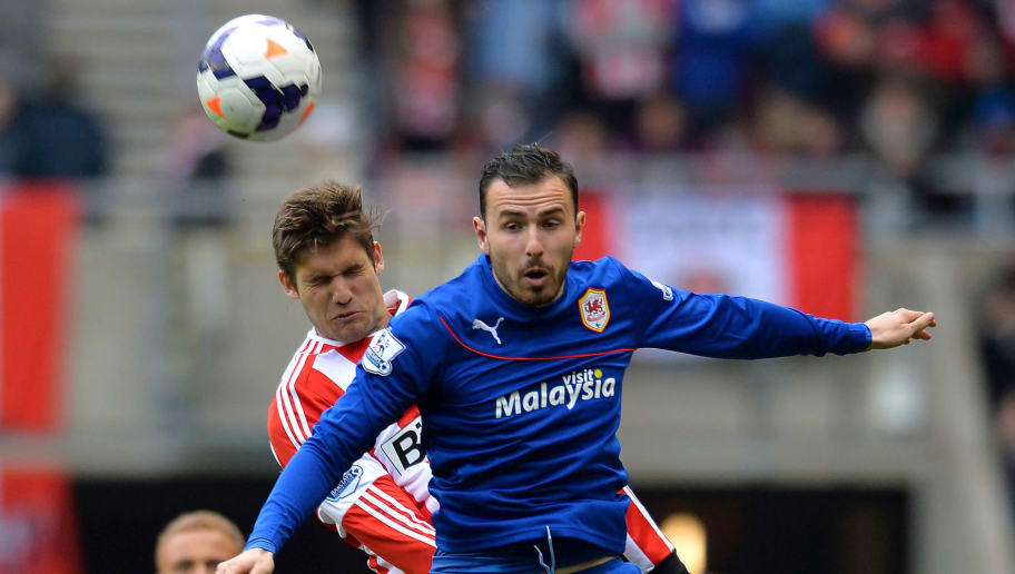 SUNDERLAND, ENGLAND - APRIL 27: Santiago Vergini of Sunderland and Jordon Mutch of Cardiff City challenge during the Barclays Premier League match between Sunderland and Cardiff City at the Stadium of Light on April 27, 2014 in Sunderland, England. (Photo by Mark Runnacles/Getty Images)