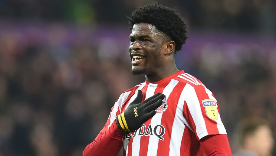 SUNDERLAND, ENGLAND - NOVEMBER 17: Josh Maja of Sunderland celebrates after scoring his team's first goal during the Sky Bet League One match between Sunderland and Wycombe Wanderers at Stadium of Light on November 17, 2018 in Sunderland, United Kingdom. (Photo by Harriet Lander/Getty Images)