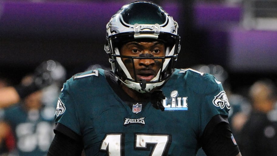 MINNEAPOLIS, MN - FEBRUARY 04:  Alshon Jeffery #17 of the Philadelphia Eagles looks on against the New England Patriots during Super Bowl LII at U.S. Bank Stadium on February 4, 2018 in Minneapolis, Minnesota. The Eagles defeated the Patriots 41-33. (Photo by Focus on Sport/Getty Images) *** Local Caption *** Alshon Jeffery; Patrick Chung