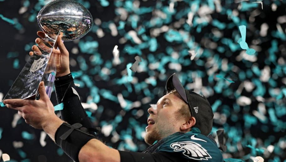 MINNEAPOLIS, MN - FEBRUARY 04: Quarterback Nick Foles #9 of the Philadelphia Eagles raises the Vince Lombardi Trophy after defeating the New England Patriots, 41-33, in Super Bowl LII at U.S. Bank Stadium on February 4, 2018 in Minneapolis, Minnesota.  (Photo by Patrick Smith/Getty Images)