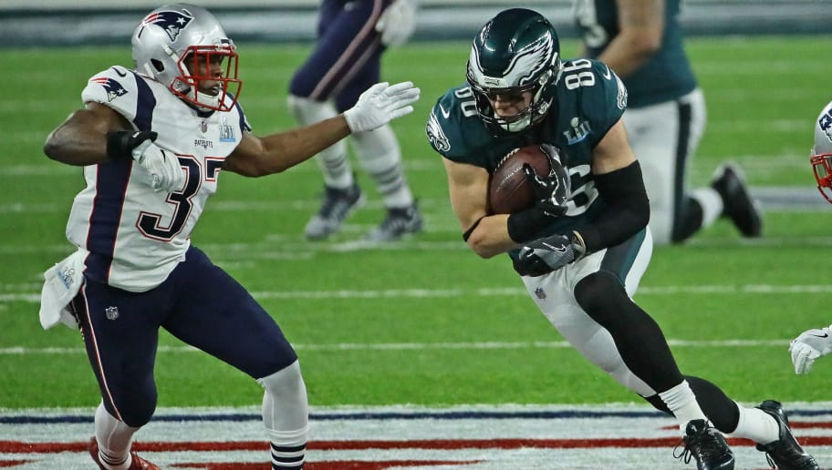 MINNEAPOLIS, MN - FEBRUARY 04:  Zach Ertz #86 of the Philadelphia Eagles runs after a catch chased by Jordan Richards #37 of the New England Patriots during Super Bowl Lll at U.S. Bank Stadium on February 4, 2018 in Minneapolis, Minnesota. The Eagles defeated the Patriots 41-33.  (Photo by Jonathan Daniel/Getty Images)