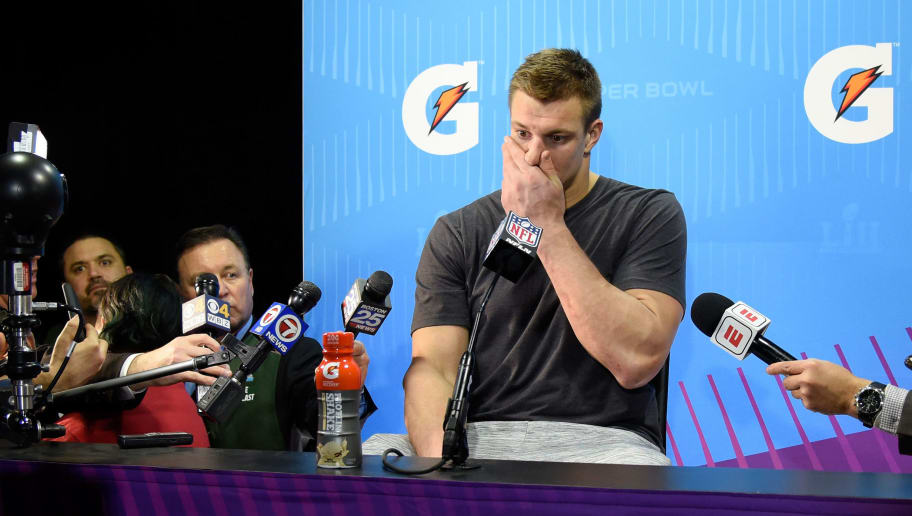 MINNEAPOLIS, MN - FEBRUARY 04:  Rob Gronkowski #87 of the New England Patriots speaks to the media after losing to the Philadelphia Eagles 41-33 in Super Bowl LII at U.S. Bank Stadium on February 4, 2018 in Minneapolis, Minnesota.  (Photo by Larry Busacca/Getty Images)