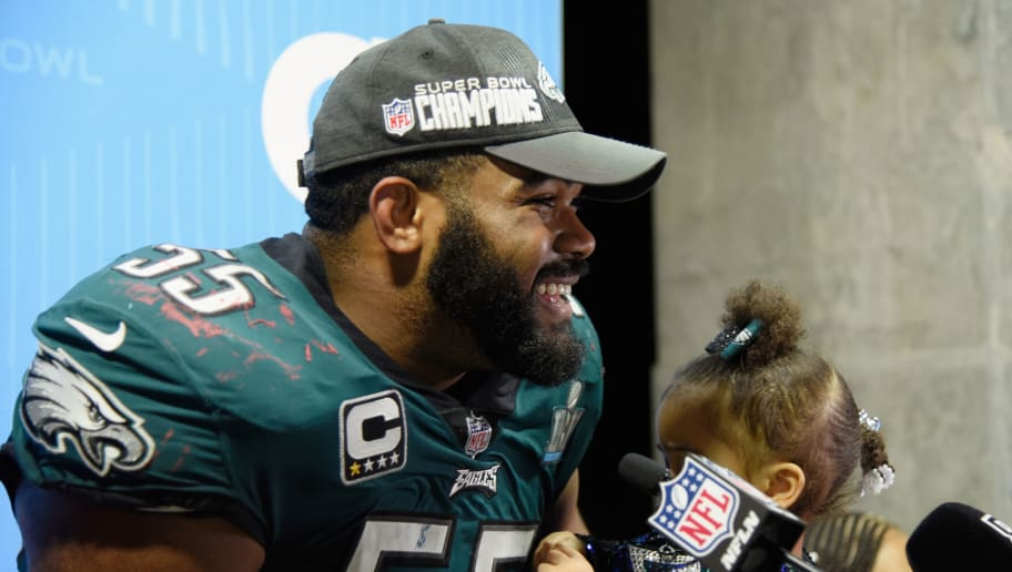 MINNEAPOLIS, MN - FEBRUARY 04:  Brandon Graham #55 of the Philadelphia Eagles talks to the media after defeating the New England Patriots 41033 in Super Bowl LII at U.S. Bank Stadium on February 4, 2018 in Minneapolis, Minnesota.  (Photo by Larry Busacca/Getty Images)