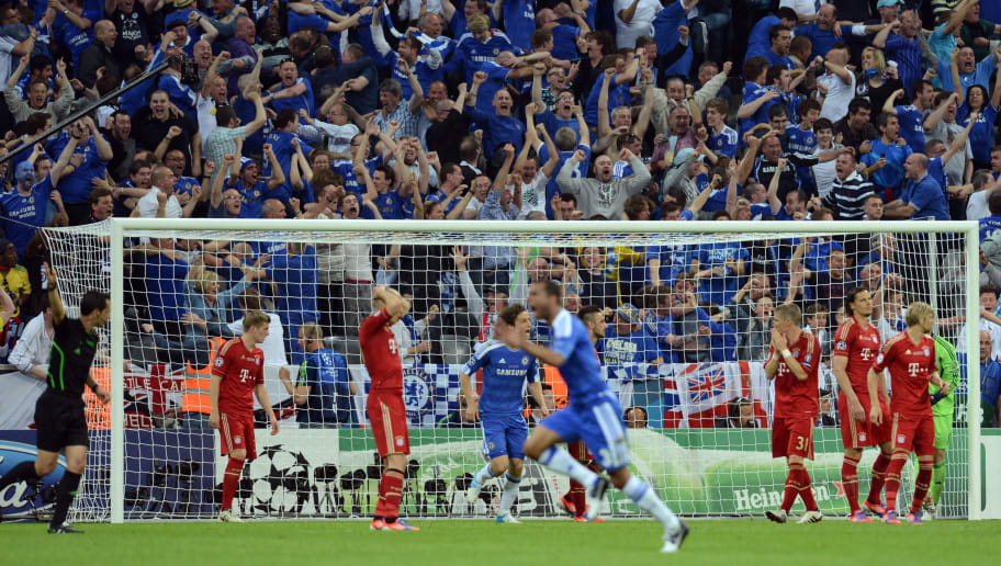Supporters of Chelsea celebrate after th