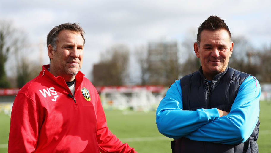 SUTTON, GREATER LONDON - FEBRUARY 16:  Paul Doswell manager of Sutton United and ex-Arsenal player and pundit Paul Merson in discussion during a Sutton United FA Cup media day on February 16, 2017 at the Borough Sports Ground in Sutton, Greater London. Sutton United are due to face Arsenal in the Emirates FA Cup Fifth round on 20 February.  (Photo by Ian Walton/Getty Images)