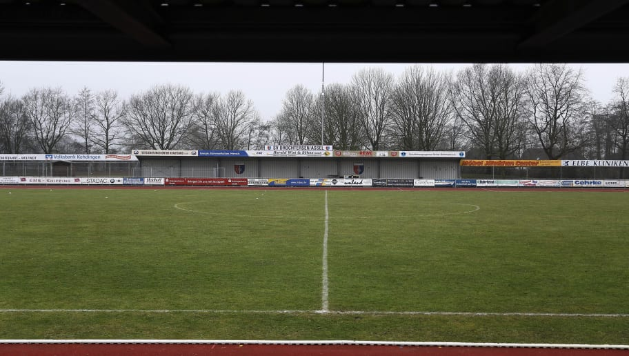 DROCHTERSEN, GERMANY - FEBRUARY 05:  An exterior view of the stadium prior to the Regionalliga Nord match SV Drochtersen Assel and 1. FC Germania Egetorf Langreder at the Kehdinger Stadion on February 5, 2017 in Drochtersen, Germany.on February 5, 2017 in Drochtersen, Germany.  (Photo by Oliver Hardt/Bongarts/Getty Images)
