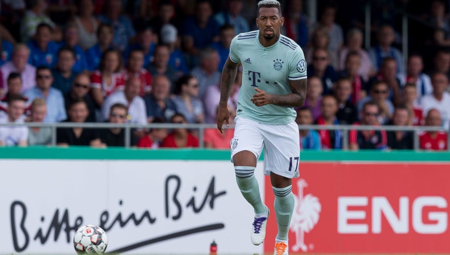 DROCHTERSEN, GERMANY - AUGUST 18: Jerome Boateng of Bayern Muenchen controls the ball during the DFB Cup first round match between SV Drochtersen-Assel and Bayern Muenchen at Kehdinger Stadion on August 18, 2018 in Drochtersen, Germany. (Photo by TF-Images/Getty Images)