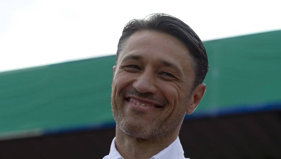 DROCHTERSEN, GERMANY - AUGUST 18: Head coach Niko Kovac of Bayern Muenchen laughs prior to the DFB Cup first round match between SV Drochtersen-Assel and Bayern Muenchen at Kehdinger Stadion on August 18, 2018 in Drochtersen, Germany. (Photo by TF-Images/Getty Images)
