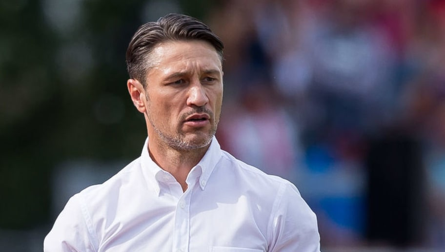 DROCHTERSEN, GERMANY - AUGUST 18: Head coach Niko Kovac of Bayern Muenchen looks on during the DFB Cup first round match between SV Drochtersen-Assel and Bayern Muenchen at Kehdinger Stadion on August 18, 2018 in Drochtersen, Germany. (Photo by TF-Images/Getty Images)