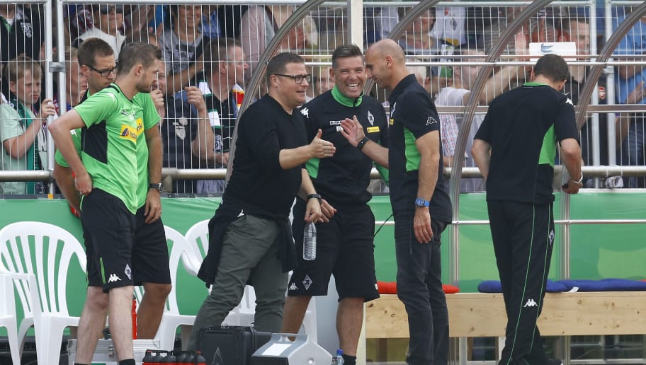 DROCHTERSEN, GERMANY - AUGUST 20: Max Eberl, Goalkeeper Coach Uwe Kamps and Coach Andre Schubert of Moenchengladbach celebration after the DFB Cup match between SV Drochtersen/Assel and Borussia Moenchengladbach at Kehdinger Stadion on August 20, 2016 in Drochtersen, Germany.  (Photo by Joachim Sielski/Bongarts/Getty Images)