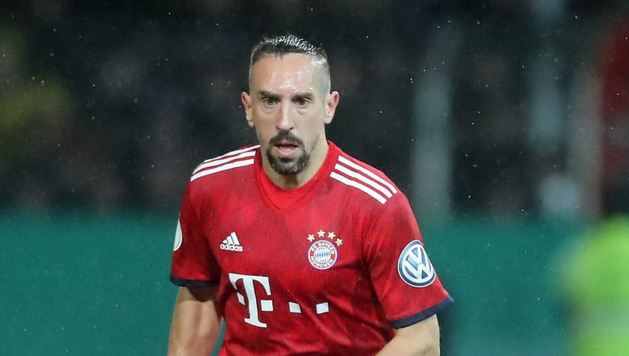ROEDINGHAUSEN, GERMANY - OCTOBER 30: Franck Ribery of Bayern runs with the ball during the DFB Cup match between SV Rodinghausen and FC Bayern Munich at Hacker-Wiehenstadion on October 30, 2018 in Roedinghausen, Germany. (Photo by Christof Koepsel/Bongarts/Getty Images)