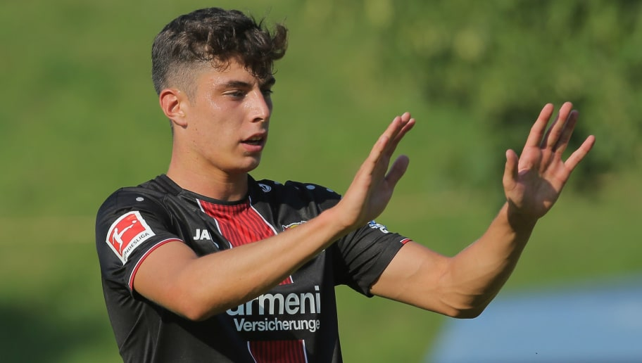 BREITSCHEID; GERMANY - JULY 18: Kai Havertz of Leverkusen gestures during the friendly match between SV Rossbach/Verscheid and Bayer 04 Leverkusen on July 18, 2018 in Breitscheid, Germany. (Photo by TF-Images/Getty Images)