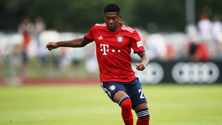 ROTTACH-EGERN, GERMANY - AUGUST 08:  David Alaba of Bayern Munich controls the ball during the Pre-Season Friendly match between SV Rottach-Egern and FC Bayern Muenchen on August 8, 2018 in Rottach-Egern, Germany.  (Photo by Adam Pretty/Bongarts/Getty Images)