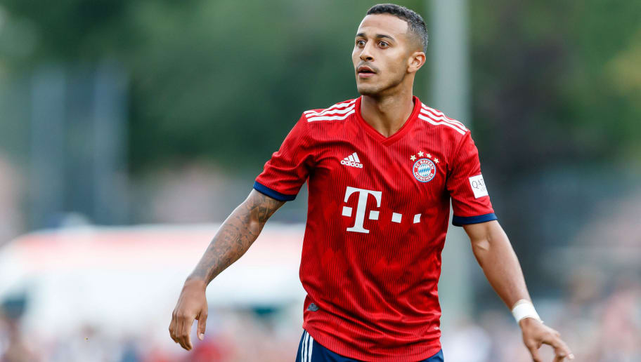 ROTTACH-EGERN, GERMANY - AUGUST 08: Thiago Alcantara of Bayern Muenchen looks on during the friendly match between SV Rottach-Egern and FC Bayern Muenchen on August 8, 2018 in Rottach-Egern, Germany. (Photo by TF-Images/Getty Images)