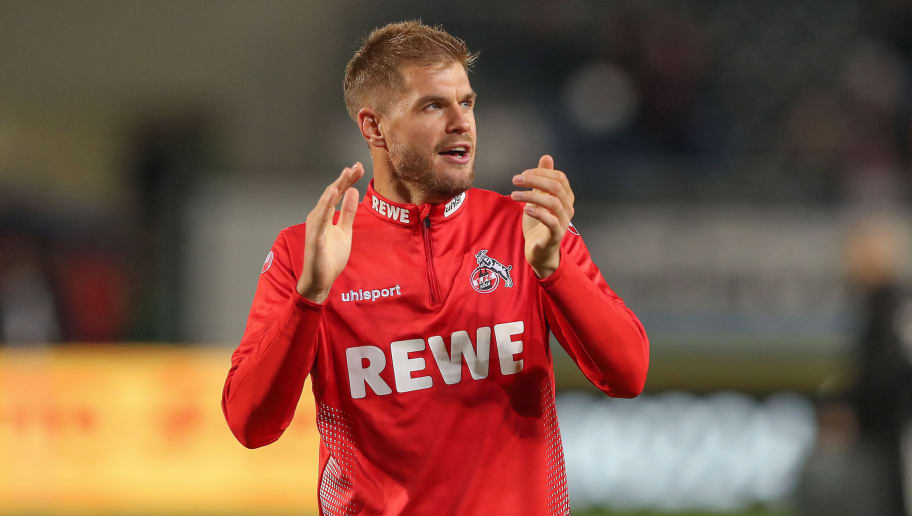 SANDHAUSEN, GERMANY - SEPTEMBER 21: Simon Terodde of Cologne thanks to the fans after the Second Bundesliga match between SV Sandhausen and 1. FC Koeln at BWT-Stadion am Hardtwald on September 21, 2018 in Sandhausen, Germany. (Photo by Christian Kaspar-Bartke/Bongarts/Getty Images)