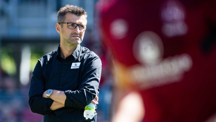 SANDHAUSEN, GERMANY - MAY 06: Head coach Michael Koellner of Nuernberg looks on prior to the Second Bundesliga match between SV Sandhausen and 1. FC Nuernberg at BWT-Stadion am Hardtwald on May 6, 2018 in Sandhausen, Germany. (Photo by Simon Hofmann/Bongarts/Getty Images)