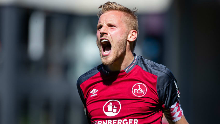 SANDHAUSEN, GERMANY - MAY 06: Hanno Behrens of Nuernberg celebrates his team's first goal during the Second Bundesliga match between SV Sandhausen and 1. FC Nuernberg at BWT-Stadion am Hardtwald on May 6, 2018 in Sandhausen, Germany. (Photo by Simon Hofmann/Bongarts/Getty Images)