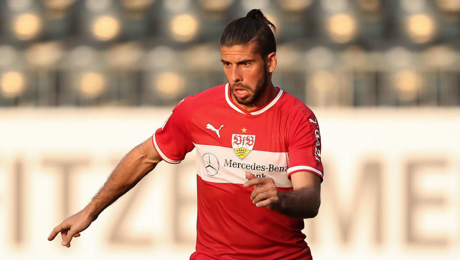 SANDHAUSEN, GERMANY - JULY 25: Emiliano Insua of Stuttgart in action during the pre-season friendly match between SV Sandhausen and VfB Stuttgart on July 25, 2018 in Sandhausen, Germany. (Photo by Christian Kaspar-Bartke/Getty Images)