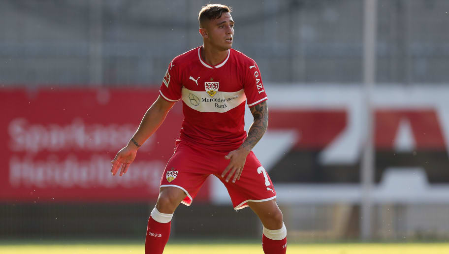 SANDHAUSEN, GERMANY - JULY 25: Pablo Maffeo of Stuttgart in action during the pre-season friendly match between SV Sandhausen and VfB Stuttgart on July 25, 2018 in Sandhausen, Germany. (Photo by Christian Kaspar-Bartke/Getty Images)