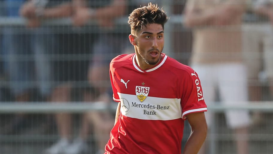 SANDHAUSEN, GERMANY - JULY 25: Berkay Özcan of Stuttgart in action during the pre-season friendly match between SV Sandhausen and VfB Stuttgart on July 25, 2018 in Sandhausen, Germany. (Photo by Christian Kaspar-Bartke/Getty Images)