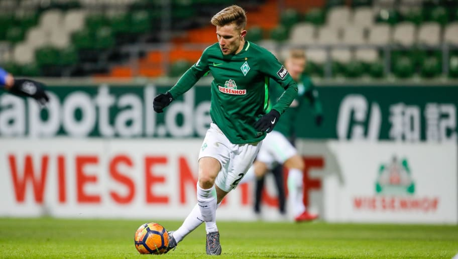 BREMEN, BREMEN - MARCH 02: Johannes Eggestein of Bremen II during the 3. Liga match between SV Werder Bremen II and F.C. Hansa Rostock at Weserstadion on March 2, 2018 in Bremen, Germany.  (Photo by Martin Stoever/Bongarts/Getty Images)