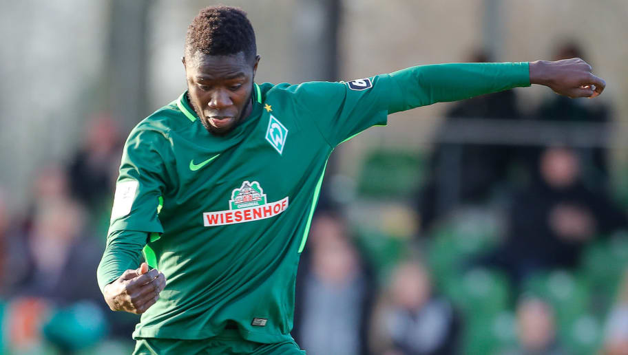 BREMEN, BREMEN - NOVEMBER 25:  Ousman Manneh of Bremen II play the ball during the 3. Liga match between SV Werder Bremen II and FC Rot-Weiss Erfurt at Bremen Platz 11 on November 25, 2017 in Bremen, Germany.  (Photo by Martin Stoever/Bongarts/Getty Images)