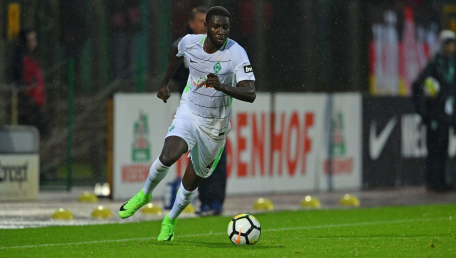 BREMEN, GERMANY - SEPTEMBER 08: Ousman Manneh of Bremen runs with the ball during the 3. Liga match between SV Werder Bremen II and SC Fortuna Koeln at Platz 11 stadium on September 8, 2017 in Bremen, Germany. (Photo by Thomas Starke/Bongarts/Getty Images)