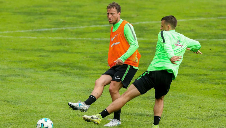 ZELL AM ZILLER, AUSTRIA - JULY 14: Philipp Bargfrede of Werder Bremen and Maximilian Eggestein of Werder Bremen battle for the ball during the Training Camp of SV Werder Bremen on July 14, 2017 in Zell am Ziller, Austria. (Photo by TF-Images/TF-Images via Getty Images)