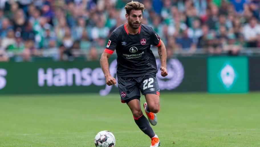 BREMEN, GERMANY - SEPTEMBER 16: Enrico Valentini of Nuernberg of controls the ball during the Bundesliga match between SV Werder Bremen and 1. FC Nuernberg at Weserstadion on September 16, 2018 in Bremen, Germany. (Photo by TF-Images/TF-Images via Getty Images)