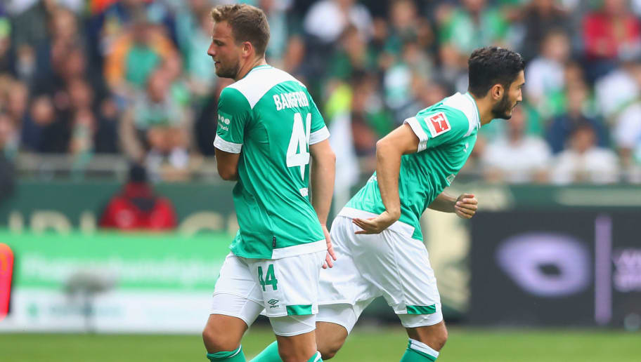BREMEN, GERMANY - SEPTEMBER 16:  Philipp Bargfrede of Werder Bremen is replaced by Nuri Sahin of Werder Bremen as subsitute during the Bundesliga match between SV Werder Bremen and 1. FC Nuernberg at Weserstadion on September 16, 2018 in Bremen, Germany.  (Photo by Martin Rose/Bongarts/Getty Images)